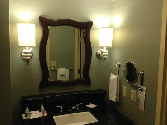 Disneyland Hotel: the bathroom sink and toilet are separated so two can use at once