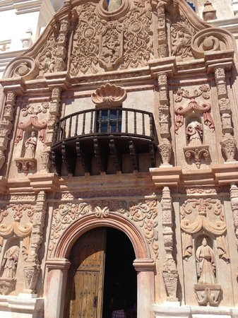 Facade of Mission San Xavier del Bac south of Tucson, Arizona