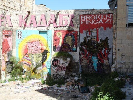 Wadi Nisnas: grafitis sur un mue en ruine