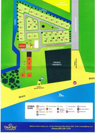 Orua Bay Beach Motor Camp & Accommodation: Our Camp map