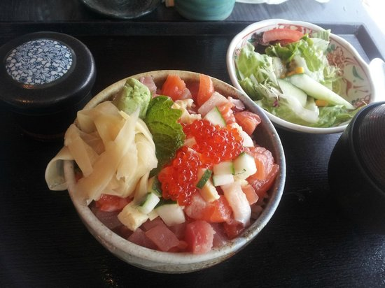 Ka Ma Do Japanese Restaurant: sashimi rice bowl with steamed egg, salad and miso soup on the side