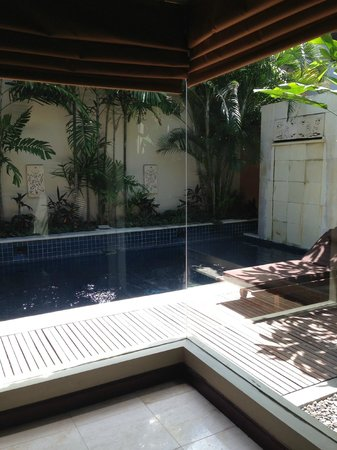 Bhavana Private Villas: looking out from our bedroom to the private pool