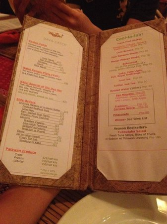 Kalui Restaurant : The menu