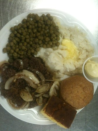 Phil's Restaurant: Hamburger Steak with Grilled Onions and 2 Sides