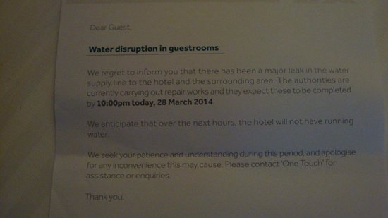 PARKROYAL Kuala Lumpur: Water Issue letter