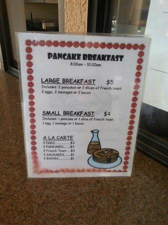 Dolphin's Cove Resort : Breakfast Dining  Menu