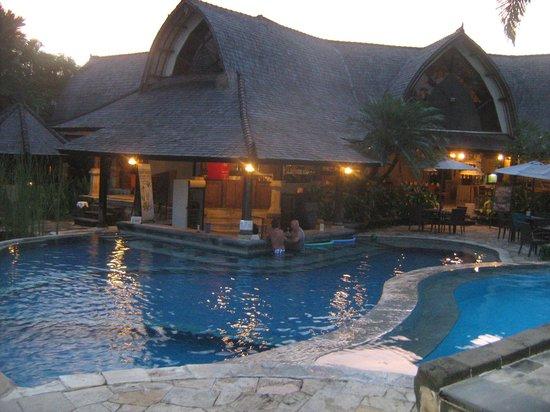 Hotel Vila Lumbung: Swim up bar at dusk