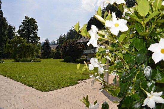 Restaurant Maninseo: Grüne Parkanlage und blühende Blumen