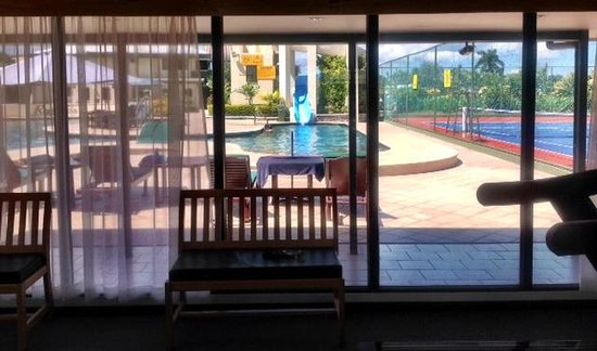 Fiji Gateway Hotel: view from gym to pool