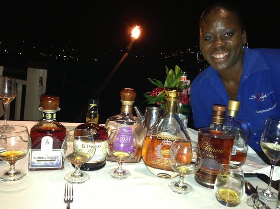 The Edge Restaurant Bar & Sushi: Dacia, the friendly manager of the Edge, conducting a rum tasting,