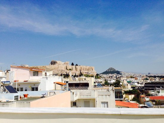 Acropolis Hill Hotel : View of acropolis from roof deck