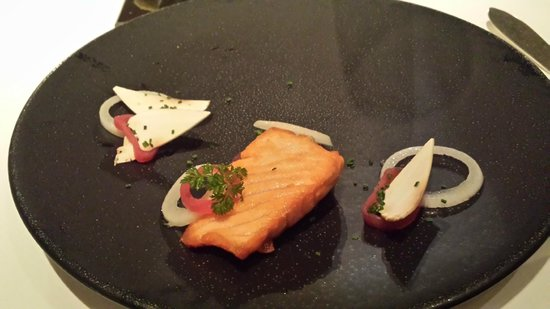 Roux at The Landau: starters of salmon , mushrooms and onion