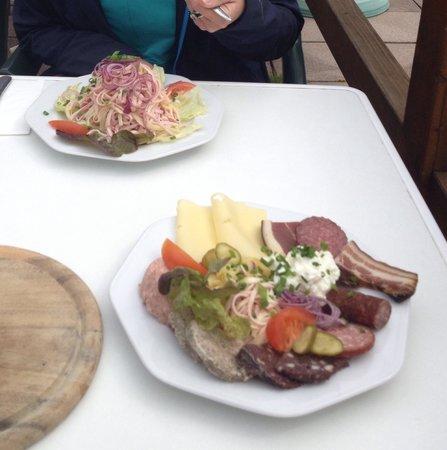 Elzach, Germany: Hausplatte und Schweizer Wurstsalat