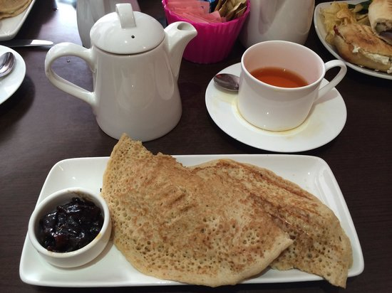 Naughty & Nice Cafe Bistro Ice Cream Parlour Chocolatier: Derbyshire Oakcake Wrap and pot of tea