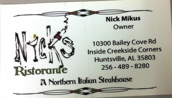 Nick's Ristorante: Business Card