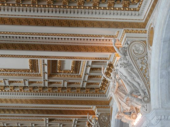 Ornate ceiling in Library of Congress entry hall