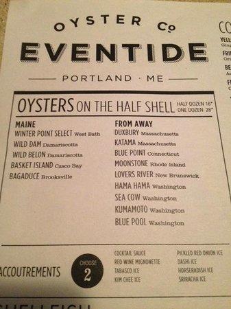Eventide Oyster Company: menu