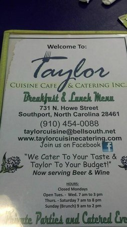 Taylor Cuisine Cafe & Catering: Taylor Menu