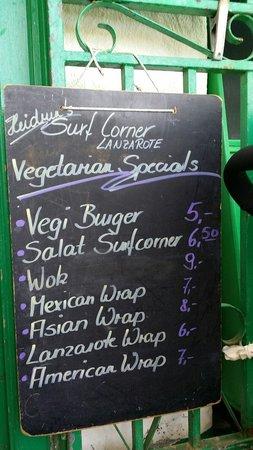 Surf Corner Cafe Bar: menu