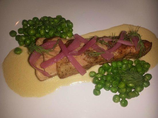Cerise Craft Steakhouse: Pork Tenderloin in Dijon sauce - picked onions, peas and dill