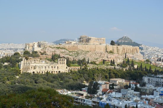 Philopappos Hill : View from Filopappou Hill of the Acropolis and Mt Lycabettus beyond