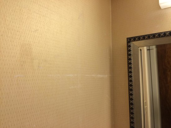 Kansas City Airport Marriott: Dirty bathroom wall