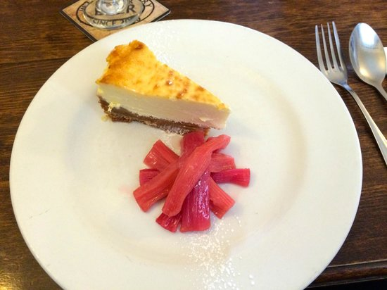 The Feathers Inn: Baked cheesecake and poached rhubarb