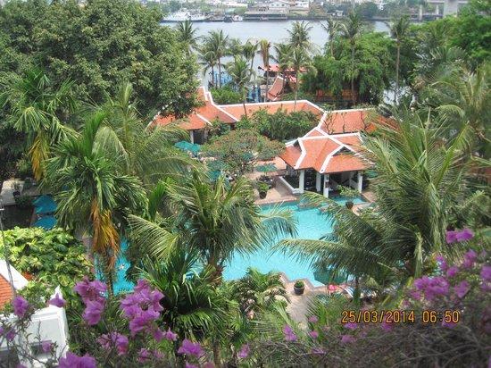 Anantara Riverside Bangkok Resort : Pool and river view