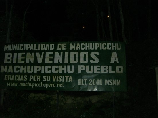 Machu Picchu: The sign at the bottom of the steps