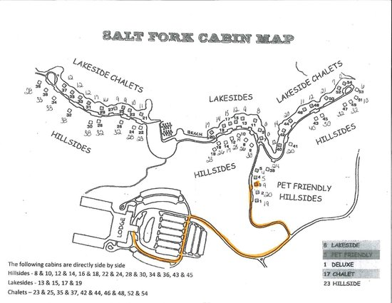 Cambridge, OH: Salt Fork Cabin Map