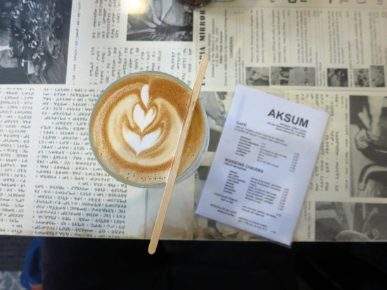Cafelatte at Aksum Coffee House