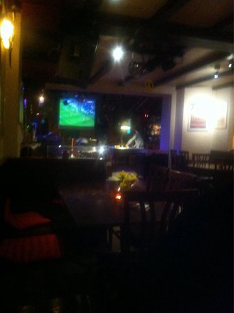 Goldener Anker : Café corner has large screen tv and real pool table, restaurant is nevertheless quiet