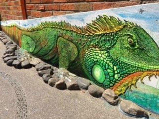 Costa Sur Resort & Spa: Iguana sidewalk art
