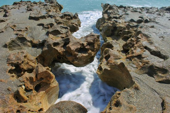 Blowing Rocks Preserve: water has eroded the soft rocks over the years