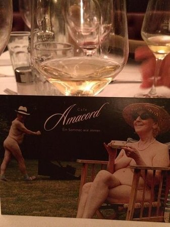 Cafe Amacord: dessert wine and postcard from Amacord