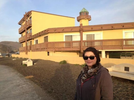 Best Western Plus Lighthouse Hotel: my beautiful and loving wife modeling in front of our room...