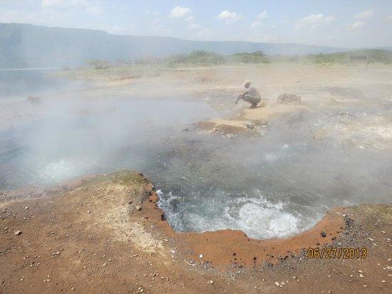 The hot water pools at Lake Bogoria