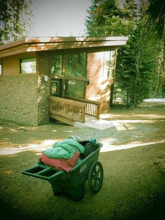 Montecito Sequoia Lodge & Summer Family Camp: You cart your own stuff to the forest cabins, front of cabin