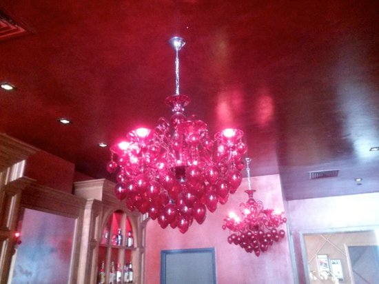 The Burgundy Bar: Ruby Chandeliers