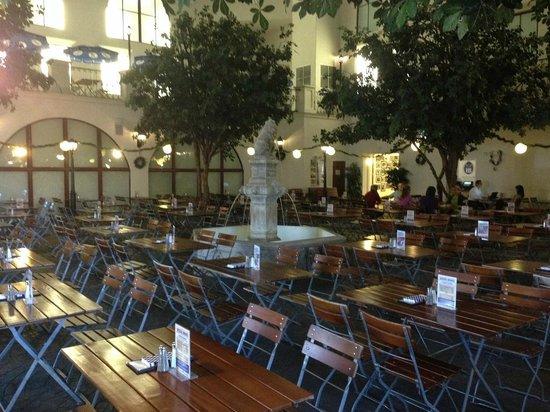Hofbrauhaus Las Vegas An Empty Indoor Beer Garden