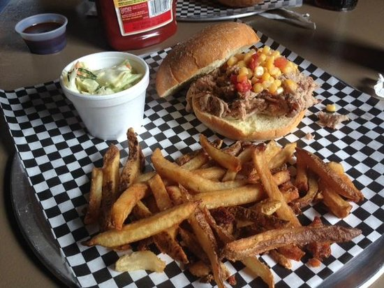 Big Jim's Bama Q: Pulled Pork Sandwich with Corn Relish, Collard Slaw and Fries
