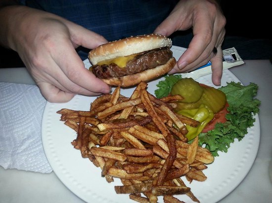 Cart Barn Grill : The burger and fries are fresh and homemade.