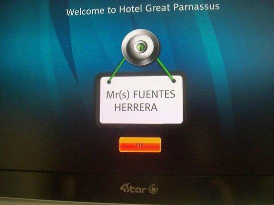 Great Parnassus Family Resort : Mensaje de Bienvenida en la pantalla del cuarto