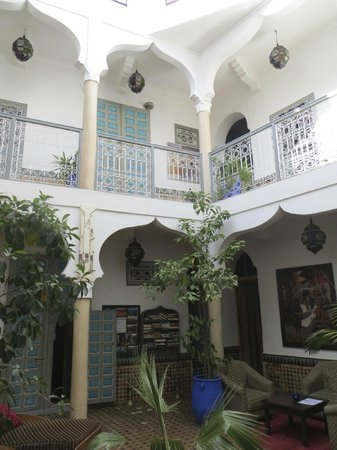 Riad Zinoun: In the middle courtyard looking at doors to rooms