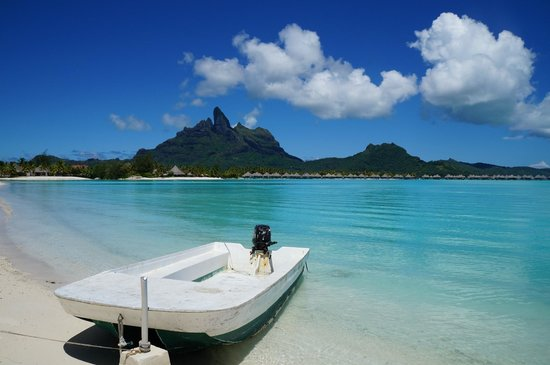 The St. Regis Bora Bora Resort: View from beach