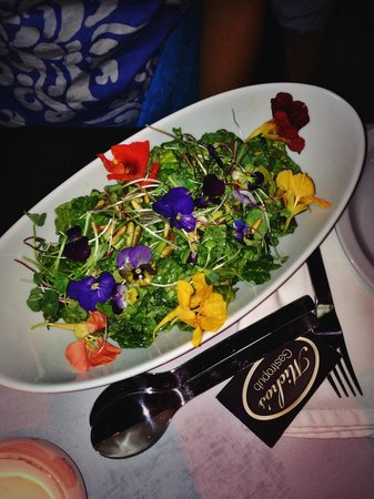 Michos: The kale salad with edible flowers grown by the restaurant! - perfectly placed arrangement