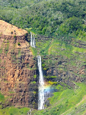 Jack Harter Helicopters - Tours : Waterfall making rainbow