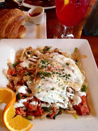 Petite Provence: Wild northwest salmon hash. The drink is homemade hibiscus-ginger simple syrup mixed with fresh