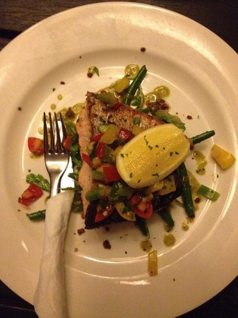 CY O'Connor Village Pub: Check size relation to the fork $37 salmon with 1/2 cup vegetables
