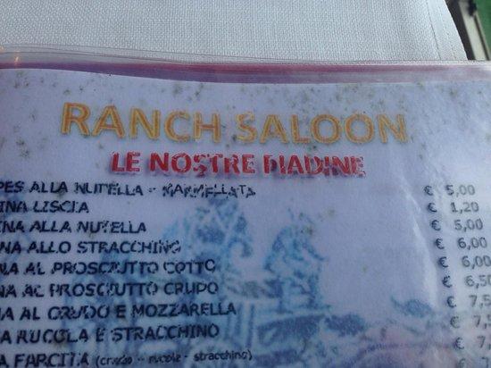Ranch Saloon : Muffa in tutte le pagine del menù...